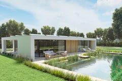 Casa moderna con lo stagno ambientale rappresentazione 3d Fotografie Stock Libere da Diritti