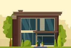 Casa moderna con un cane vicino Fotografia Stock