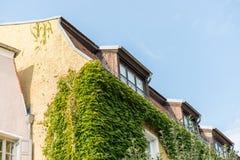 A casa moderna da ripa com chaminé e o telhado iluminam-se Fotos de Stock