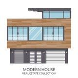 A casa moderna do três-andar, bens imobiliários assina dentro o estilo liso Ilustração do vetor Fotografia de Stock