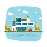 Casa moderna Ejemplo plano del vector del diseño Fotografía de archivo libre de regalías