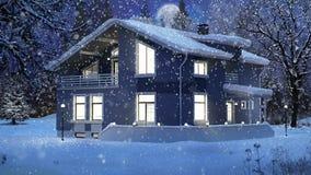 Casa moderna em uma cena do Natal do inverno filme