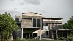Casa moderna enorme con un giardino convenzionale piacevole illustrazione di stock