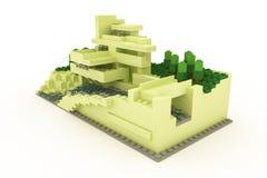 Casa moderna hecha de ladrillos plásticos Imagen de archivo