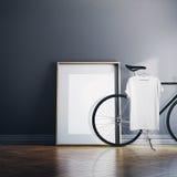 Casa moderna interior del estudio de la foto con la bicicleta clásica Lona blanca vacía en piso de madera natural Ejecución en bl fotos de archivo