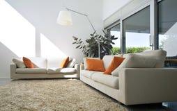 Casa moderna interior do tijolo Fotos de Stock Royalty Free