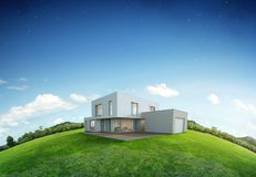 Casa moderna na terra e na grama verde com fundo do céu azul na venda dos bens imobiliários ou no conceito do investimento da pro Imagem de Stock