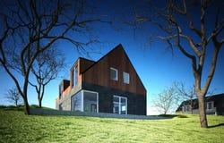 Casa moderna sulla collina Immagine Stock