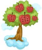 Casa molto in alto di melo sulla nube royalty illustrazione gratis
