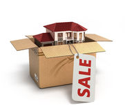 Casa movente Mercado imobiliário Imagem tridimensional 3d IL Fotos de Stock