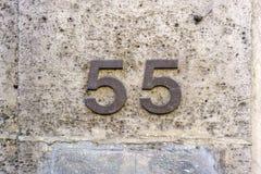 Casa número 55 Imágenes de archivo libres de regalías