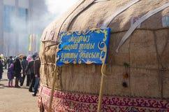 Casa nômada tradicional de Yurt em Ásia central Nauryz kazakhstan imagens de stock