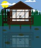 Casa na água Vetor Projeto liso ilustração stock