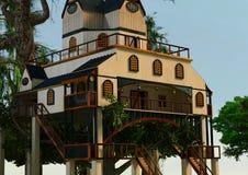 casa na árvore do estilo do alojamento da rendição 3D Fotografia de Stock