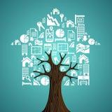 Casa na árvore dos ícones dos bens imobiliários Fotografia de Stock