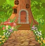 Casa na árvore no meio da floresta Ilustração Royalty Free