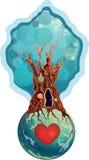 Casa na árvore no planeta Imagens de Stock