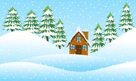 Casa na borda da floresta ilustração stock