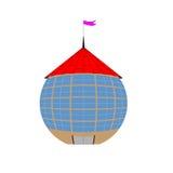A casa na forma de uma bola com um telhado de telha vermelha Ilustração do Vetor