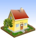 Casa na jarda com árvore e grama. Vetor ilustração stock