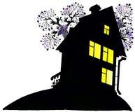 A casa na noite Fotografia de Stock