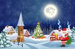 Casa na paisagem nevado do Natal na noite Imagem de Stock