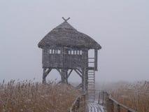Casa na tempestade de neve Imagem de Stock Royalty Free