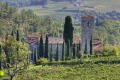 Casa nel paesaggio della Toscana Immagine Stock