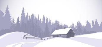 Casa Nevado del campo del paisaje del invierno con el árbol de pino Forest On Background Fotos de archivo libres de regalías