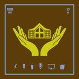 Casa no ícone do vetor das mãos ilustração royalty free