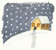 Casa no blizzard do inverno Fotos de Stock Royalty Free