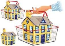 Casa no cesto de compras Imagem de Stock Royalty Free