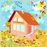 Casa no dia do outono Imagem de Stock