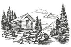 Casa no esboço tirado mão da ilustração do vetor da paisagem da montanha ilustração stock