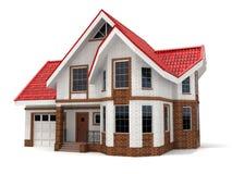 Casa no fundo branco Imagem tridimensional Fotos de Stock