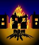 Casa no incêndio Imagens de Stock Royalty Free
