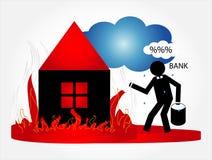 Casa no incêndio Fotografia de Stock