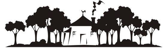 Casa no jardim ilustração royalty free