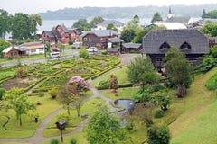 Casa no museu alemão em Frutillar, o Chile imagens de stock royalty free