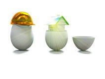 A casa no ovo e o ovo no capacete 3d da construção rendem Fotos de Stock