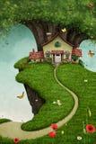 Casa no penhasco ilustração royalty free