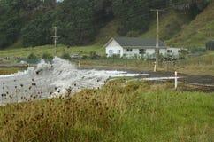 Casa no perigo da tempestade Fotografia de Stock Royalty Free