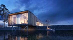Casa no rio - projeto exterior moderno ilustração royalty free