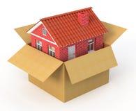 Casa nova na caixa de cartão ilustração royalty free