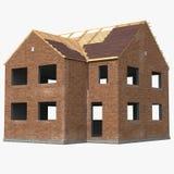 Casa nova que está sendo construída com os tijolos no branco ilustração 3D Fotografia de Stock