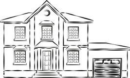 Casa o apartamentos Casa urbana del americano de la familia Vecindad con los hogares acogedores Cabaña moderna tradicional para e libre illustration