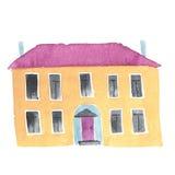 Casa o scuola dipinta a mano dell'acquerello vecchia Immagine Stock