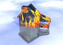 Casa oleosa nera sul modello della Camera del fuoco Fotografie Stock