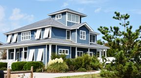 Casa oriental do oceanfront da costa de Virginia Beach fotos de stock