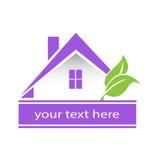 Casa púrpura y hojas del logotipo moderno Imágenes de archivo libres de regalías